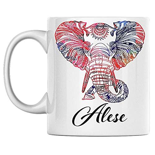N\A Taza de Elefante Personal con Nombre Alese, Taza de café de cerámica Blanca Impresa en Ambos Lados, cumpleaños para él, Ella, niño, niña, Esposo, Esposa, Hombres y Mujeres