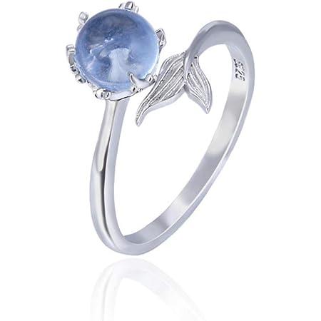 CNNIK 925 Argento sterling anelli Sirena Tail con blu sintetico di cristallo apertura regolabile per le donna delle ragazze delle signore, modo di tendenza Ornamenti d'argento con regalo