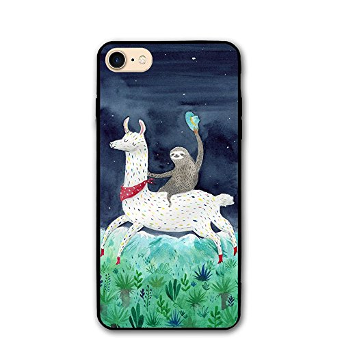 Happy Index Watercolor Sloth Riding Llama iPhone 7 Case/iPhone 8 Case Soft TPU Shell Shock-Absorption Bumper Anti-Scratch Case Enhanced Grip Protective Defender Cover