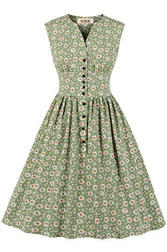AXOE Damen 60er Jahre Kleid Vintage Hellgrün, F01, Gr.50, 4XL