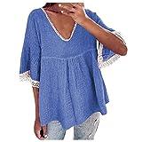 YANFANG Blusa Estampado Grande Mujer Descotado,Camiseta De Manga Cinco Puntos con Costura Encaje para Mujer,Blusa Camisero Corta Talla,Azul,XL