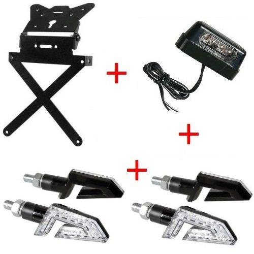 Support de plaque d'immatriculation pour moto universel Kit homologué + 4 Flèches + lumière plaque d'immatriculation Lampa Yamaha MT – 01 sP 1670 2009 – 2017