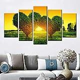 KDSFHLL 5 Dekorative Gemälde Hd Baskı Tuval Boyama Ev Dekor Duvar Sanatı Resim 5 Parça Aşk Ağacı Yeşil Kalp Şekli Peyzaj Poster