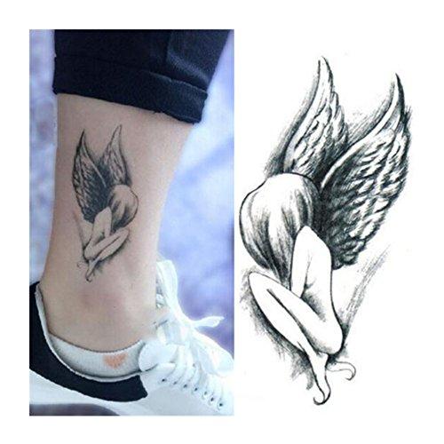 Born Pretty 1foglio tatuaggio temporaneo ephémère ARTWEAR Tattoo temporaneo impermeabile motivo ali d' angelo adesivo Art corporeo