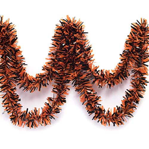 TCDesignerProducts Black and Orange Metallic Indoor & Outdoor Holiday Tinsel Twist Shiny Sparkly Garland Decoration, 4' x 25'