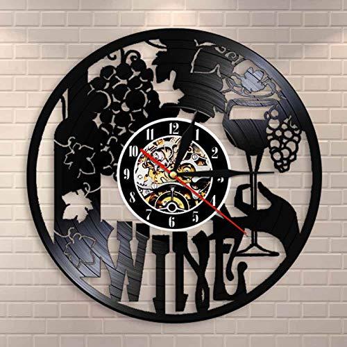 YINU Reloj de Pared con Logotipo de Vino, Botella de Vino, Vidrio, UVA, Vid, Bebida, Alcohol, Licor, Pub, Etiqueta, Emblema, Reloj de Pared con Registro de Vinilo