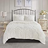 MISC White Chenille Coverlet King/Cal King Set Tufted Bedding Damask Chenile Cotton Farmhouse Pretty Shabby Chic Country Charm, 3 Piece