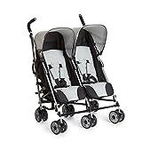 Hauck Turbo Duo Geschwister- und Zwillingskinderwagen bis 36 kg, für Babys und Kleinkinder ab Geburt, nebeneinander, schmal, leicht, schwarz grau