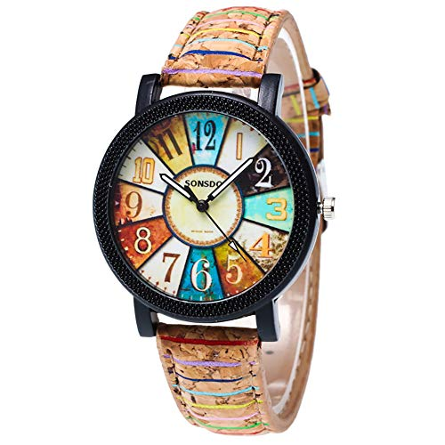 Gysad, modische Damen-Armbanduhr, Lederarmband, einstellbar, Quarzuhrwerk, Zeiger in schwarz-weiß Stil-1