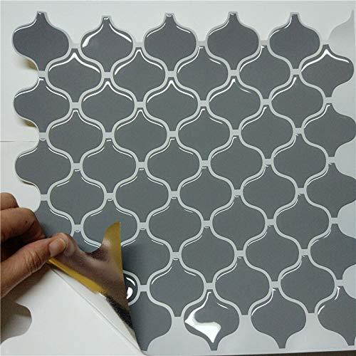 Byrhgood Outlet de fábrica Vinilo Auto Pegamento decoración cáscara y Palo 3D Lantern Gris Mosaico Mosaico Azulejos