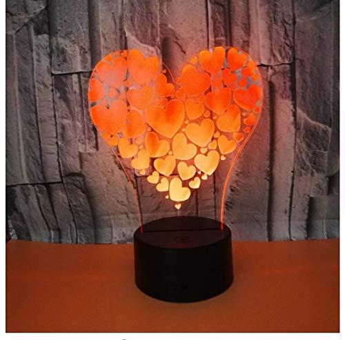 Veilleuse 3D Couleur Touch 3D Lampe Illusion Led Nuit Lumière Usb Lampe De Table Pour Enfants Bébé Enfants Cadeau Chevet Chambre Love Heart 3D Lampe