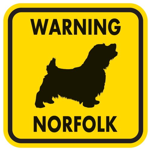 WARNING NORFOLK マグネットサイン:ノーフォークテリア(イエロー)Mサイズ
