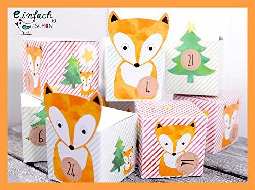 DIY Adventskalender für Kinder mit Füchse zum befüllen basteln Bastelbogen Geschenkboxen