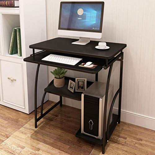 Desktop Computer Desk Laptop Study Table Office Desk with Pullout Keyboard Tray Home Desktop Computer Desk Simple Student Desk Office Bedroom Study Desk, Black US Warehouse Sending