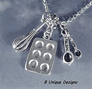 Bake Charm Necklace Baking Pan Measuring Spoons and Whisk Personalized Baker's Jewelry Culinary Gift Stainless Steel or Sterling Silver Chain
