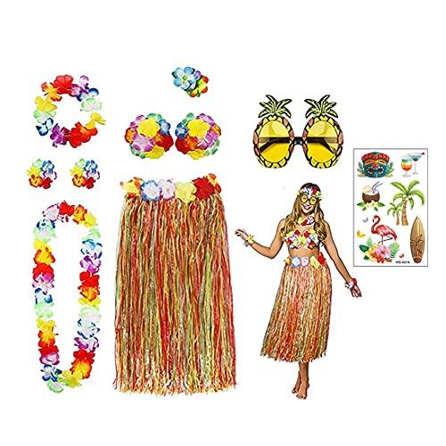 Oismys Falda de Hula, Paquete de 9, Kit de Accesorios de Falda de Hierba con Pegatina, Gafas de Sol de piña, Collar de Flores, Pulseras, Bailando, Cosplay, Traje de Fiesta