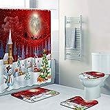 UWRHJK Juego De Baño Navideño, 4 Piezas De Cortina De Ducha Merry Christmas, con Alfombra Antideslizante, Tapa De Inodoro, Tapete De Baño Y 12 Ganchos para Decoración Navideña