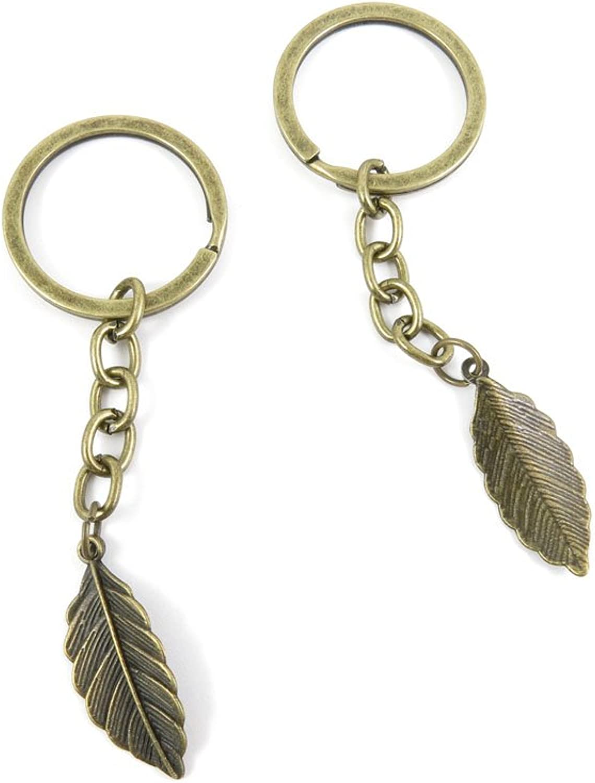 80 PCS Keyring Car Door Key Ring Tag Chain Keychain Wholesale Suppliers Charms Handmade U1GI9 Leaf Leaves
