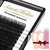 Sam&Helen Ellipse Eyelash Extensions,16 Rows Flat Lash Extension,Mink Individual lashes 0.15mm C Curl Mixed8-15mm Black Matte Individual Eyelashes Extension,Professional Salon Use