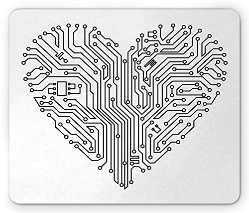 Hearts muismat, computerhart met moederbord elementen voor technologie concept en liefde ontwerp, standaard formaat rechthoek anti-slip rubber muismat, zwart en wit