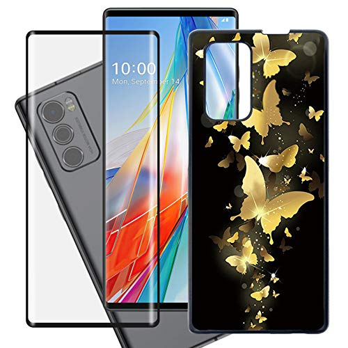 """HHUAN Case + Tempered Glass Screen Protector for LG Wing 5G (6.8""""), Black Hard PC Phone Protective case Shock-Absorption Bumper Cover [Ultra-Thin and Lightweight Design] - WMA30"""