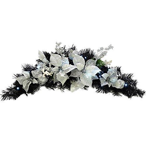 Arco a ghirlanda decorato con luci predisposte WeRChristmas, 20 lampadine LED con luce fredda, 90 cm, colore nero/argento Black/Argento