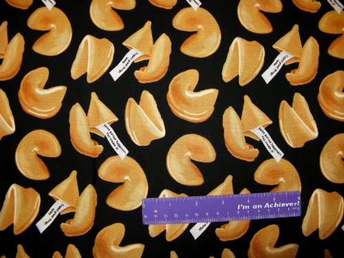 44' Wide Fortune Cookies Black Cotton Fabric BY THE HALF YARD