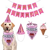 TVMALL Ensemble bandana pour chien avec chapeau bannière – Fournitures de fête d'anniversaire – Jouet en peluche pour chien garçon ou fille – chapeau de couronne mignon pour animal de compagnie Rose