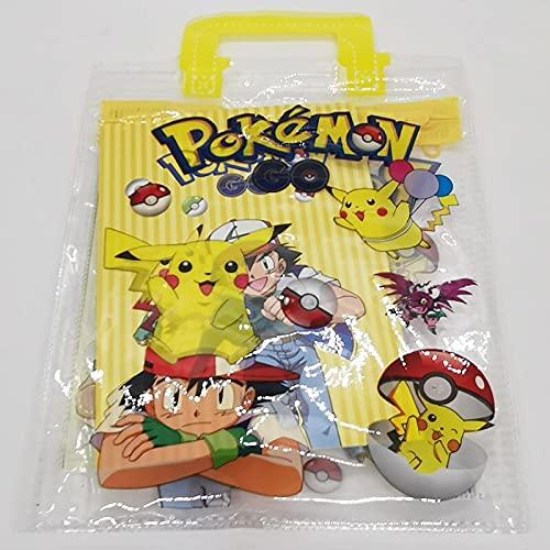 BOIZAN Juego de 2 piezas pokémon Pokemon Pikachu portátil papelería para niños y niñas, conjunto escolar suministros escolares regla cuaderno lápiz bolígrafo bolígrafo regalo conjunto