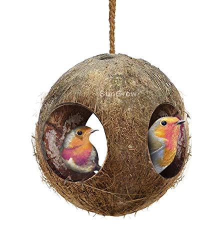 SunGrow 3-Hole Coco Finch Hut, Perfect for Hiding Millet & Nesting Material, Birdhouse Makes for Mini condo, Charming Natural Home Decor, Hang Wild Bird Food Dispenser in a Tree in Front Yard or Patio