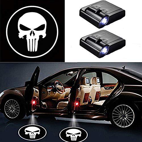 MIVISO LED Auto ProjectoLr, 2 Stücke Auto Tür Willkommen Schädel Logo Licht, Universal Wireless Magnetic Sensor Schatten Logo Licht