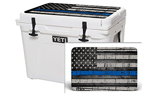 USATuff Wrap (Cooler Not Included) - Lid Kit Fits YETI 110qt Tundra - Protective Custom Vinyl Decal - USA Blue Line Flag -  YET-TUN-110-1-0218