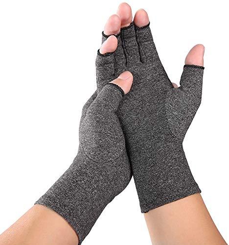2 Stücke Arthrose Handschuhe, JADE KIT Kompression Arthritis Fingerlose Handschuhe zur Schmerzlinderung und Heilung bei Arthrose, Karpaltunnel, Sehnenentzündung【Large】