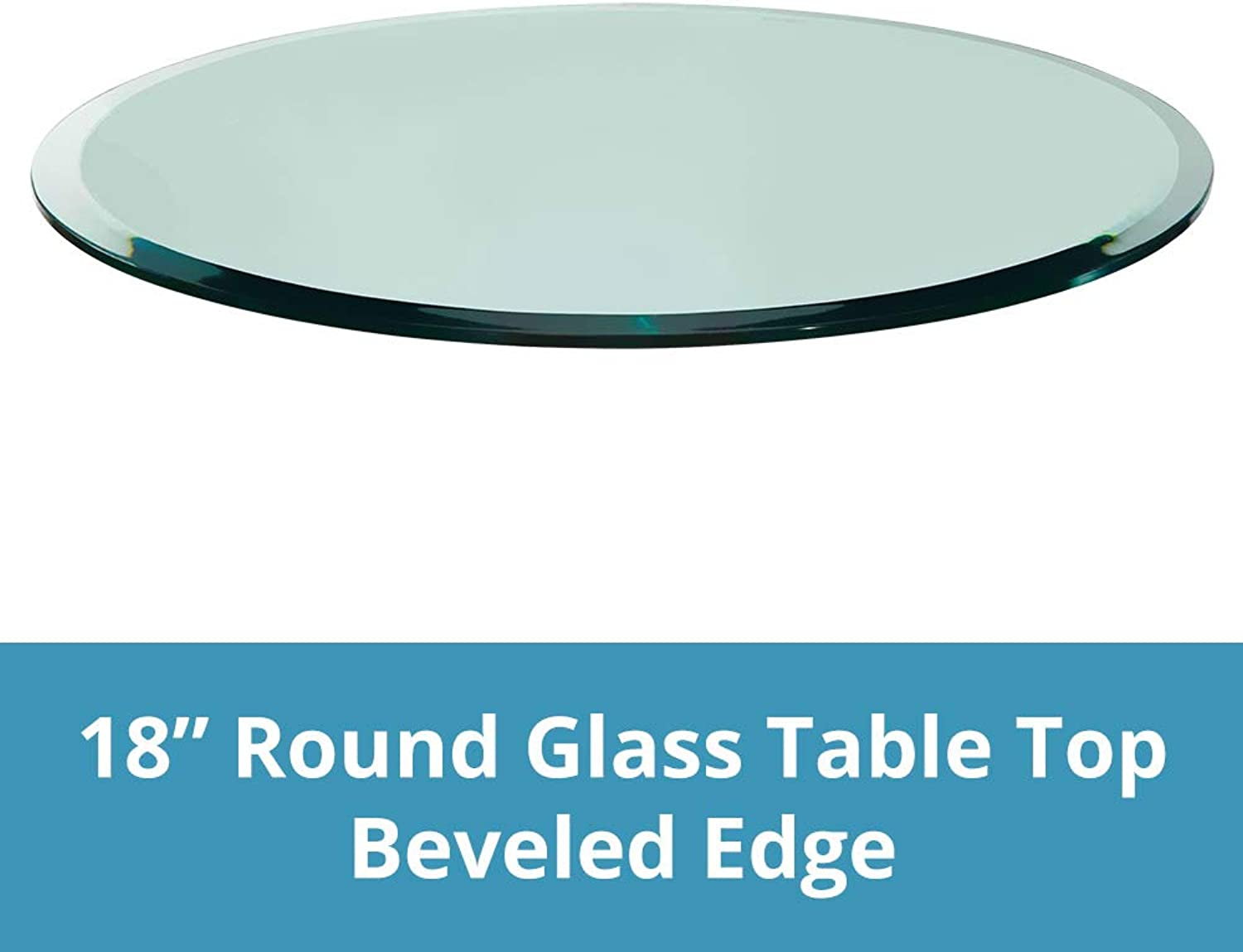 Round Glass Table Top Clear Tempered 1 2  Thick Glass With Beveled Polished Edge For Dining Table, Coffee Table, Home & Office Use - 18 L by TroySys