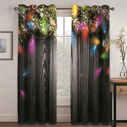 QHDIK Printed Kids Curtains 3D Colored lights Blackout for Children Bedroom Eyelet Thermal Insulated Room Darkening Curtains for Living Room Nursery Bedroom 2x W117 x L183 cm