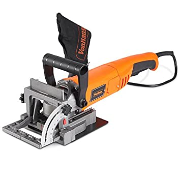 VonHaus 8.5 Amp Wood Biscuit Plate Joiner with 4  Tungsten Carbide Tipped Blade Adjustable Angle and Dust Bag - Suitable For All Wood Types