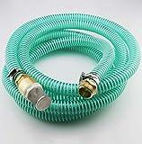 25m Saugschlauchgarnitur, PVC Spiralschlauch LW 25mm 1 Zoll, Filter- Rückschlagventil und Anschluss Messing 1' AG