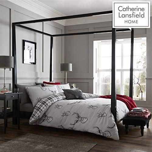 Catherine Lansfield Stag Easy Care Super King Duvet Set Silver