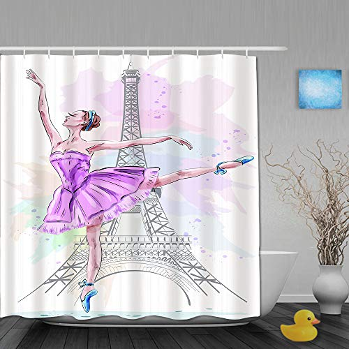 MANISENG Duschvorhang,Schöne Ballerina, die auf Eiffelturm-Hintergr&, Mädchen-Ballett-Tänzerin aufwirft & Tanzt,Bad Vorhang waschbar Bad Vorhang Polyester Stoff mit 12 Kunststoffhaken 180x210cm