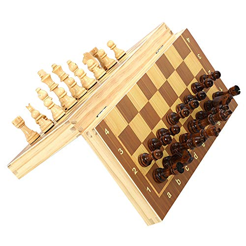 Juego de ajedrez plegable de madera magnética juego de tablero de juego de ajedrez de madera (caja de ajedrez, 29 x 29 cm)