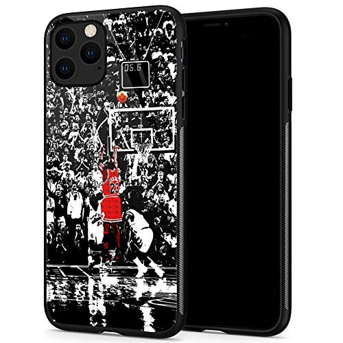 Lxury Design iPhone 11 Case, Basketball Player 1081 Pattern,9H Tempered Glass iPhone 11 Cases for Men Women Fans TPU Shock Protective Anti-Scratch Cover Case for iPhone 11