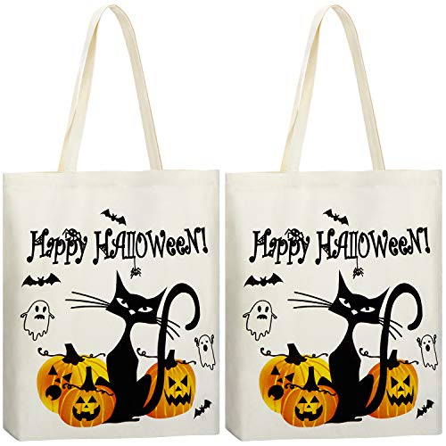 2 Pieces Halloween Tote Bags Pumpkin Bags Trick or Treat Candy (Happy Halloween)