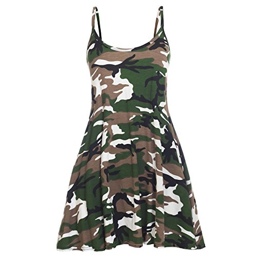 Oops Outlet, abito da donna senza maniche Army - Military Camouflage Combat Thin Strap Taglia grossa 48