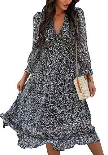 ZIYYOOHY Damen Kleid Chiffon mit V-Ausschnitt Cocktailkleid Partykleid Blusenkleid Sommerkleid (M, 3016 Schwarz)