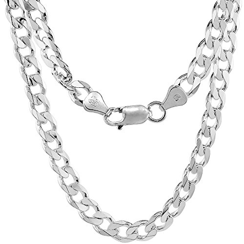 NYC Sterling Men's 9MM Solid Sterling Silver .925 Curb Link Chain Necklace, Made in Italy. (26 Inch)