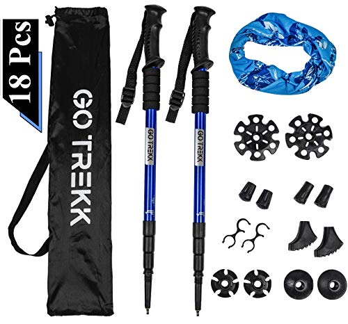 GO TREKK 2 Bastones de Senderismo Profesionales 60~135 cm+ Accesorios múltiples + Bandana Deportiva,Trekking Poles telescópicos, Ultra Ligeros, Plegables, Ajustables, Anti Choque (Azul)