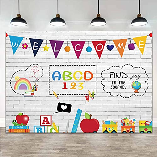 Welcome Online Teaching Teacher Students Pencil Books Subject Photo Background White Brick Wall Study at Home Blackboard Back to School Photography Backdrop 5x3ft Vinyl Studio Shoot Booth Props