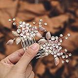 Mayelia - Pettine per capelli da sposa con perle in oro rosa, con cristalli, accessori per capelli da sposa per donne e ragazze (confezione da 2)