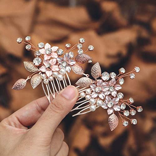 Mayelia Perle Braut Hochzeit Haarkamm Rose Gold Kristall Kopfschmuck Blume Haarspangen Braut Haarschmuck für Frauen und Mädchen (2 Stück)