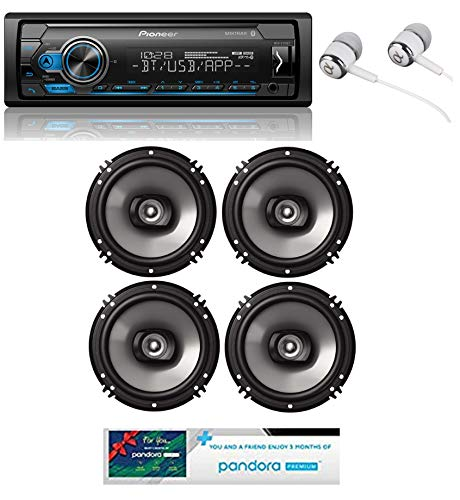 Pioneer MVH-S310BT Built-in Bluetooth, MIXTRAX, USB, Spotify, iPhone, Android Smart Sync, Car Digital Media Receiver w/Pandora Premium Trial + (4) 6.5' 2 Way Speaker Bundle